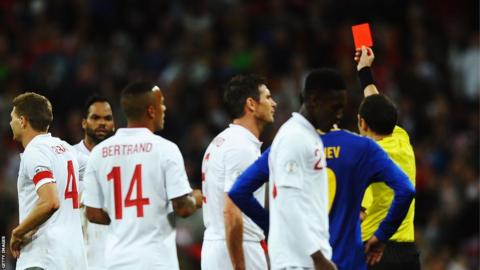 Gerrard was sent off by match referee Cuneyt Cakir during the Fifa 2014 World Cup Group H qualifying match between England and Ukraine