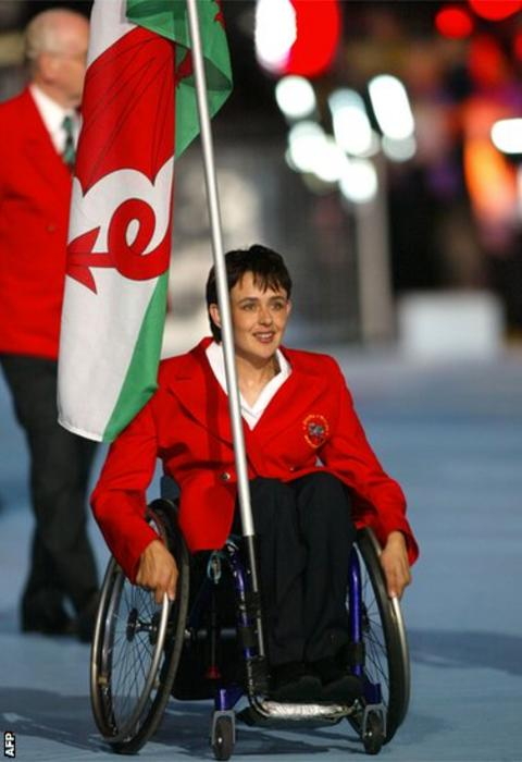 Manchester 2002: Tanni Grey-Thompson was chosen as flag bearer for the opening ceremony at the City of Manchester Stadium.