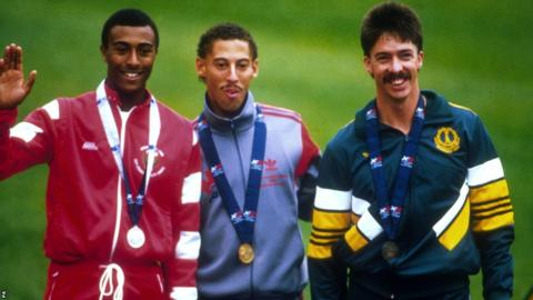 Edinburgh 1986: A young Colin Jackson (left) won silver in the 110m hurdles.