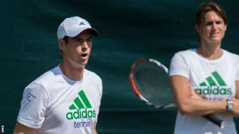Andy Murray with new coach Amelie Mauresmo