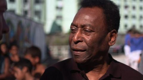 Brazil football legend Pele talks to BBC Sport's Alan Shearer