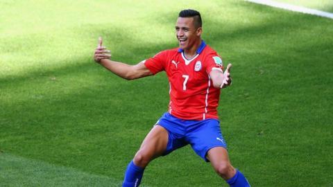 Alexis Sanchez equalises for Chile