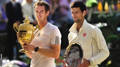 Wimbledon champions Andy Murray and Novak Djokovic