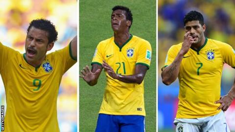 Brazil strikers Fred, Jo, Hulk