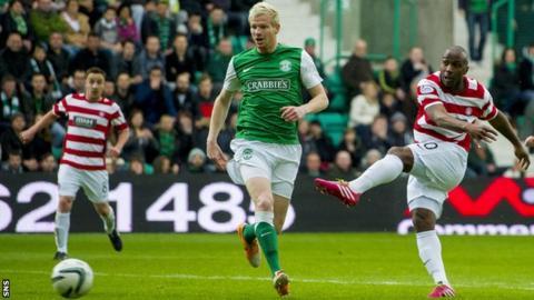 Jason Scotland scores against Hibernian for Hamilton Accies