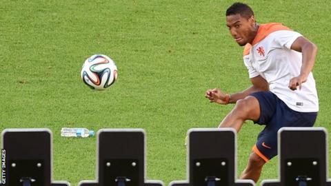 Jonathan de Guzman in training with the Netherlands in Brazil