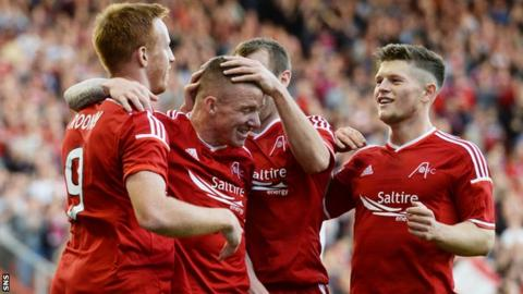 Jonny Hayes celebrates his goal against Daugava Riga