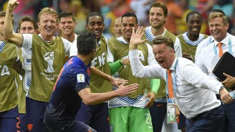 United. The Netherlands set about winning the first World Cup in their history with a shock 5-1 win over Spain in the opening round as Robin van Persie's stunning header impressed his new Manchester United boss Louis van Gaal