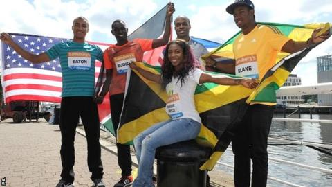 (From lefto to right) Ashton Eaton, David Rudisha, James Dasaolu, Yohan Blake and Shelly-Ann Fraser-Pryce