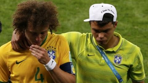 Crying David Luiz and Thiago Silva