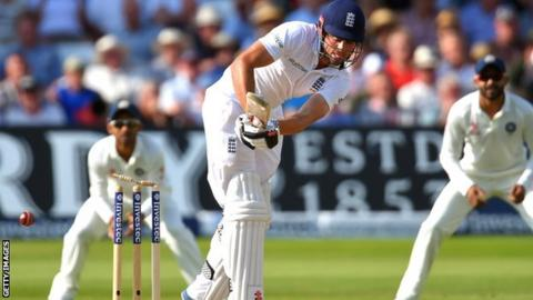 Alastair Cook is bowled for five at Trent Bridge