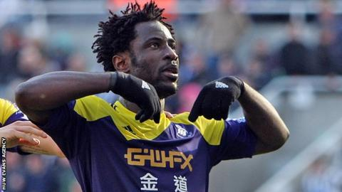 Wilfried Bony celebrates scoring for Swansea against Newcastle last season
