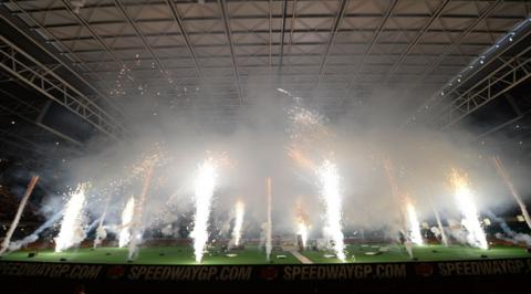 Pyrotechnics before the action at the Millennium Stadium when the British Speedway Grand Prix attracted a crowd in excess of 50,000 on Saturday