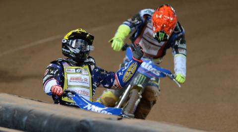 American Greg Hancock celebrates after winning the final at the British Speedway Grand Prix in Cardiff's Millennium Stadium on Saturday