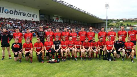 The Down panel pictured before the All-Ireland qualifier against Kildare at Pairc Esler