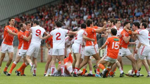 Armagh and Tyrone players got involved in a melee at the start of the match in Newry