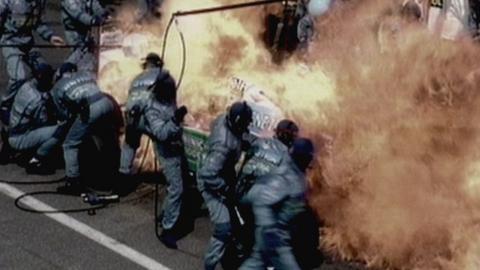 Jos Verstappen's Benetton catches alight at the 1994 German GP