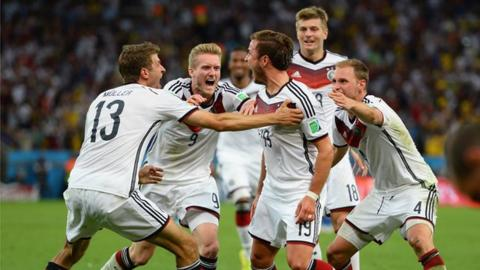 Highlights of the 2014 Fifa World Cup final as Mario Gotze's superb extra-time winner wins the trophy for Germany against a misfiring Argentina