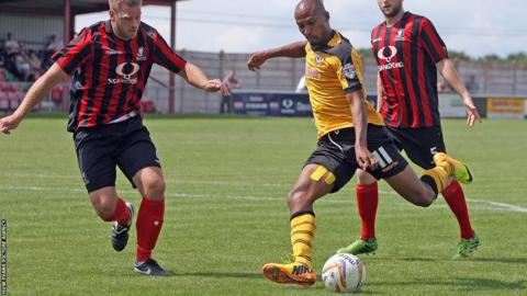 Newport County striker Chris Zebrowski shapes to shoot in his side's 5-0 pre-season friendly win against Cirencester Town