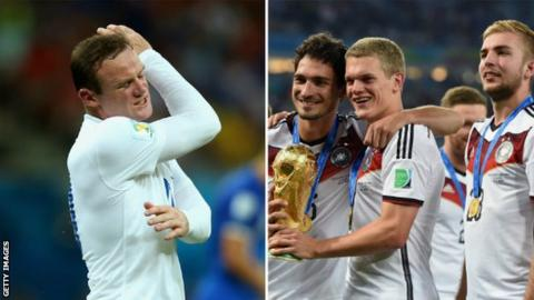 Wayne Rooney looks frustrated and Germany celebrate