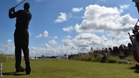 Tiger Woods pictured during a practice round at Hoylake