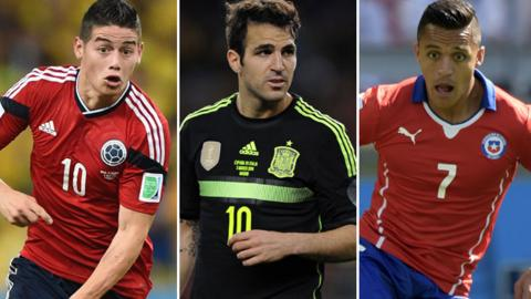 James Rodriguez, Alexis Sanchez and Cesc Fabregas