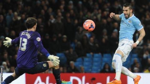 Alvaro Negredo scores for Manchester City against Blackburn