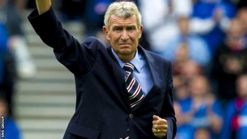 Sandy Jardine waves to the Ibrox crowd at a match in 2013