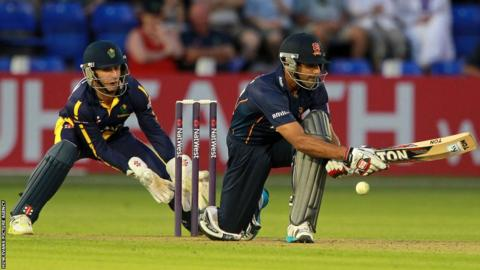Ravi Bopara of Essex clinches victory for his side against Glamorgan in their T20 Blast match at the Swalec Stadium