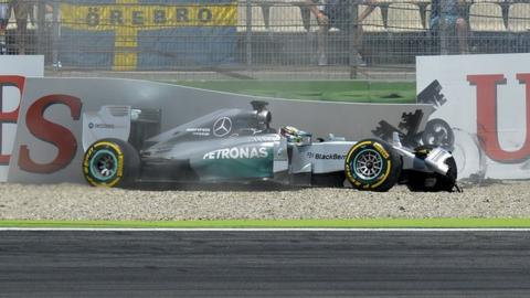 Mercedes' Lewis Hamilton crashes in German qualifying