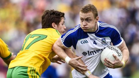 Donegal's Darach O'Connor in action against Colin Walshe of Monaghan in the Ulster Senior Final at Clones