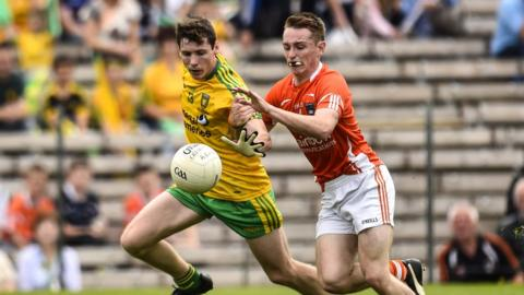 Jamie Brennan and Cathal Donnelly contend for possession as Donegal win the Ulster Minor title