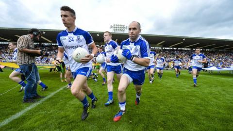 Monaghan players make their way onto the field aiming to repeat last year's win over Jim McGuinness's side