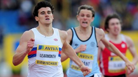 Learmonth in a sprint finish at the 2012 Aviva UK Olympic Trials and Championships