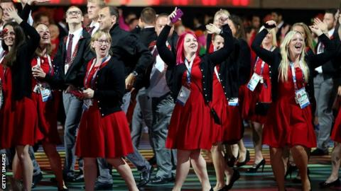 Team Wales at the Commonwealth Games opening ceremony