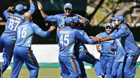 Afghanistan celebrate after drawing the series with Zimbabwe