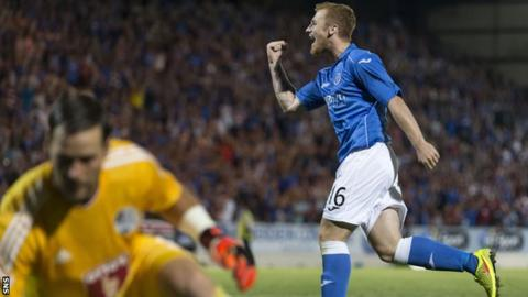 Liam Caddis celebrates his spot kick for St Johnstone against Luzern