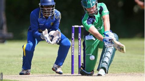 Ireland opener Andrew Balbirnie is lbw for two