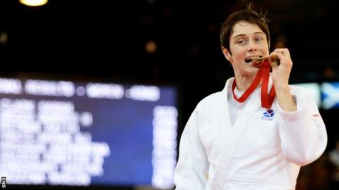 Sarah Clark with her gold medal