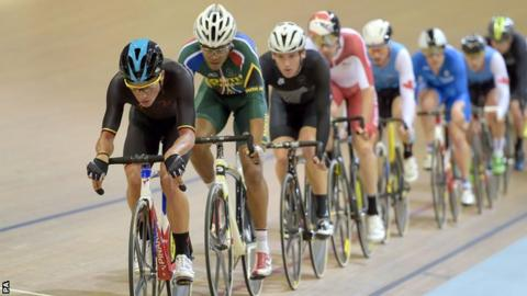 The Isle of Man's Peter Kennaugh leads the pace in Sunday's scratch event