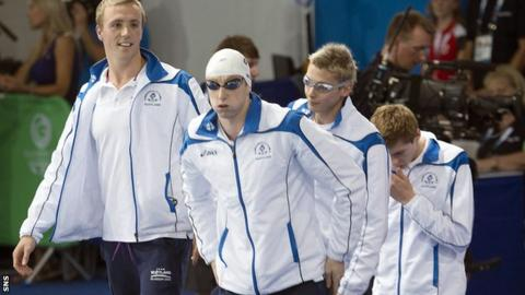 Scotland's silver medallists in the 4x200m freestyle relay