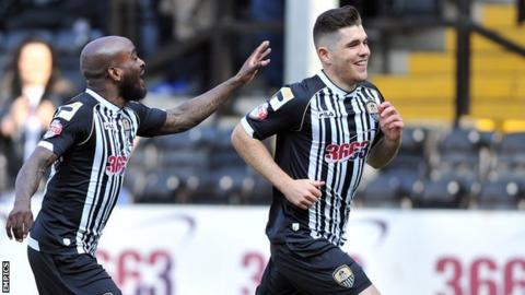 Ronan Murray (right) celebrates scoring for Notts County against Colchester United last season