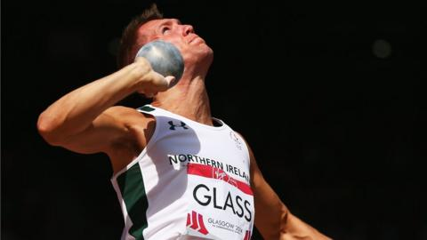 Peter Glass in action in the men's decathlon shot-putt competition at Hampden Park