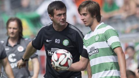 Celtic manager Ronny Deila with Filip Twardzik