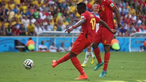 Belgium's Divock Origi scores against Russia