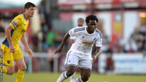 Swansea City striker Wilfried Bony in action against Exeter City