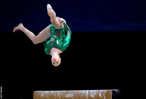 Welsh gymnast Lizzie Beddoe competes in the women's all-around final