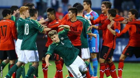 Fighting marred the Elite Section match between Northern Ireland and Mexico