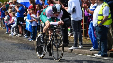 Michael Hutchinson was 12th in the road cycling men's individual time trial in his fourth Commonwealth Games