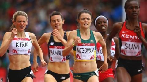 Katie Kirk [left] in action in the Commonwealth Games 800m heats